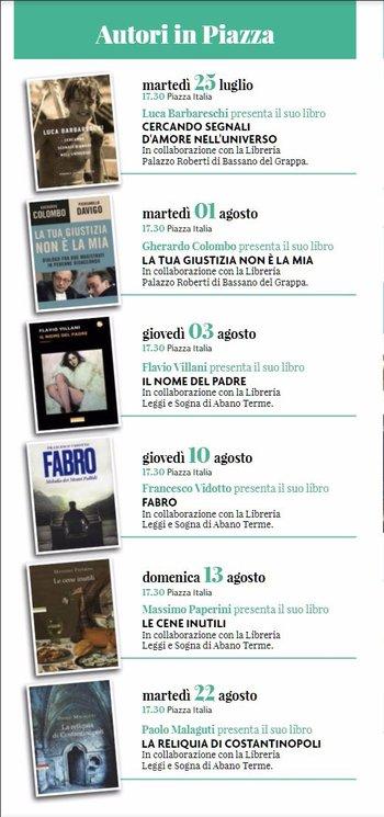 AUTORI IN PIAZZA - Presentazione libri in piazza a Gallio - Luglio/agosto 2017