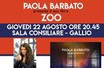 """Vorstellung des Buches """"ZOO"""" von Paola Barbato in Gallio - 22. August 2019"""