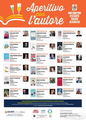 APERITIVO WITH THE AUTORE - Literary Review in Asiago - July/August 2020
