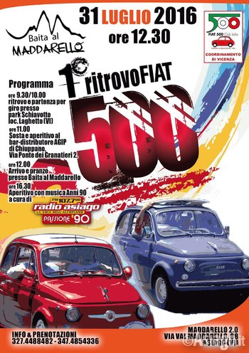 Fiat 500 Rally In Asiago Sunday 31 July 2016