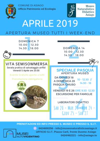 Aperture e attività del mese di APRILE 2019 del Museo Naturalistico Didattico