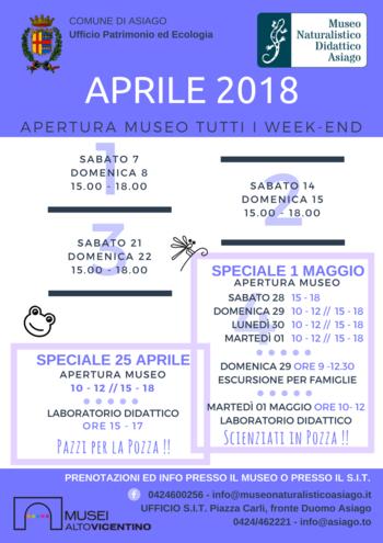 Aperture e attività del mese di aprile 2018 del Museo Naturalistico Didattico