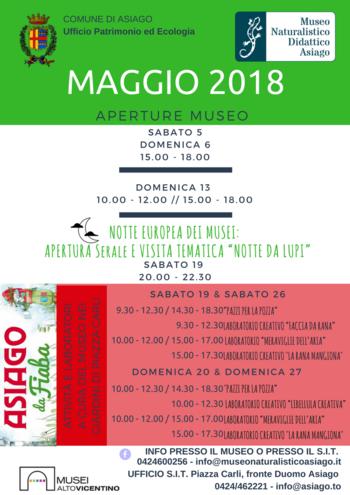 Aperture e attività del mese di maggio 2018 del Museo Naturalistico Didattico