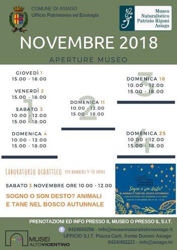 aperture mese novembre del museo naturalistico di
