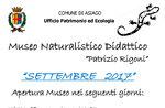 """Aperture del mese di settembre 2017 del Museo Naturalistico Didattico """"Patrizio Rigoni"""" di Asiago"""