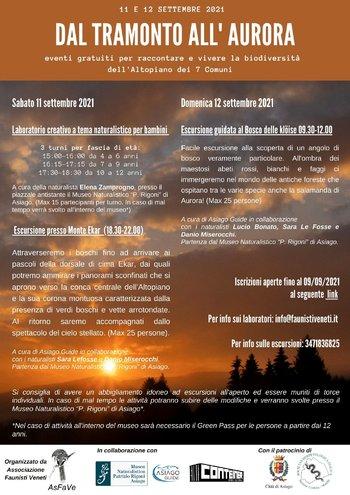 DAL TRAMONTO ALL'AURORA Laboratori ed Escursioni 11-12 settembre 2021