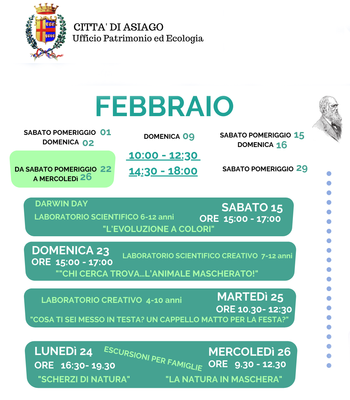 Aperture e attività del mese di FEBBRAIO 2020 del Museo Naturalistico Didattico