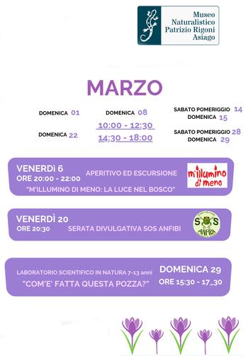 Aperture e attività del mese di MARZO 2020 del Museo Naturalistico Didattico