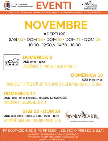 eventi novembre museo naturalistico di asiago