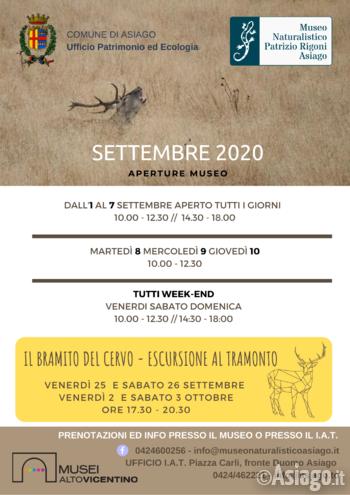 eventi settembre 2020 al museo naturalistico di as