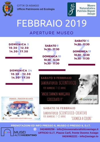 Aperture e attività del mese di FEBBRAIO 2019 del Museo Naturalistico Didattico