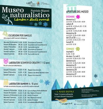 Aperture e attività dei mesi di DICEMBRE 2018 e GENNAIO 2019 del Museo Naturalistico Didattico
