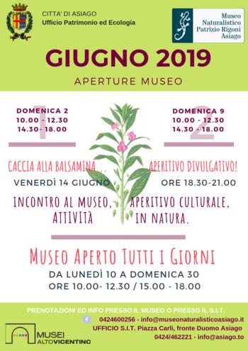 Aperture e attività del mese di GIUGNO 2019 del Museo Naturalistico Didattico