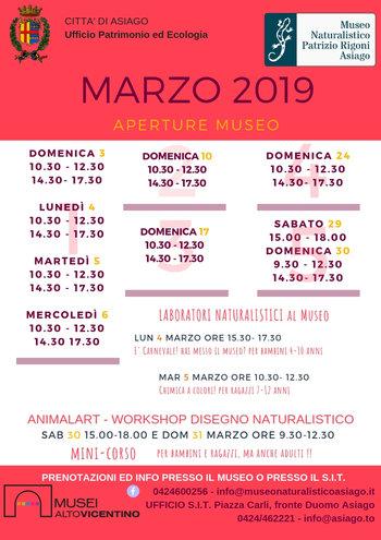 Aperture e attività del mese di MARZO 2019 del Museo Naturalistico Didattico