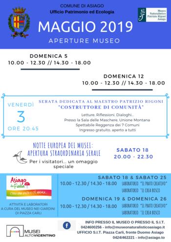 Aperture e attività del mese di MAGGIO 2019 del Museo Naturalistico Didattico