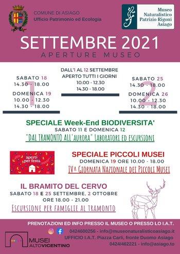 Aperture e iniziative del Museo Naturalistico Patrizio Rigoni di Asiago - settembre 2021
