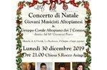 Weihnachtskonzert in Asiago mit den jungen Musikern von Altopianand und dem Highland Chorale 7 Gemeinden - 30. Dezember 2019