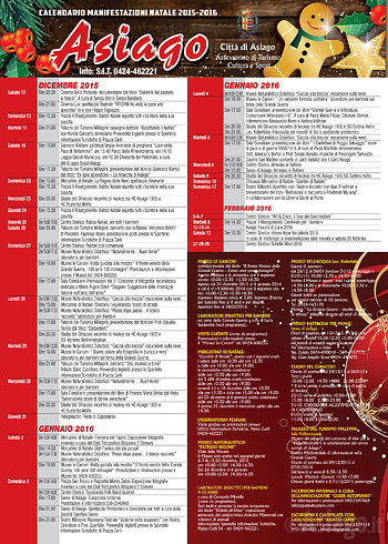 Weihnachten in ASIAGO, komplette Kalender Termine für Weihnachten 2015-2016