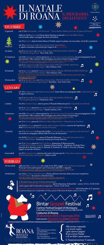 IL NATALE DI ROANA Programm Weihnachten Veranstaltungen 2015-2016