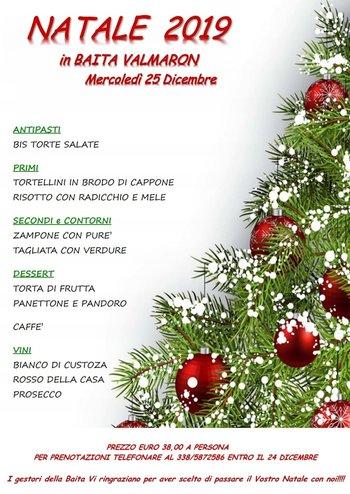 25 Natale.Pranzo Di Natale 2019 In Baita Valmaron Enego 25 Dicembre 2019