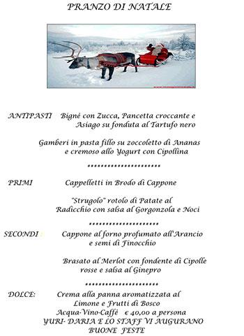 Menu Tradizionale Di Natale.Menu Pranzo Di Natale 2014 Al Ristorante La Baitina Di Asiago