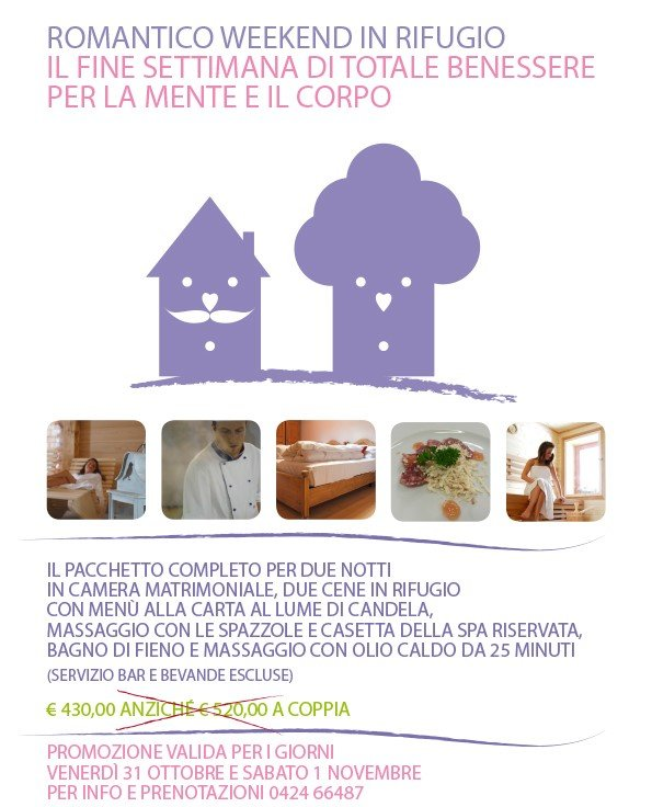 Romantico weekend in rifugio campolongo altopiano di for Offerte weekend asiago