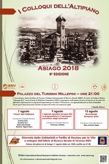I colloqui dell'Altipiano 2018 ad Asiago - 7-9-13 agosto 2018