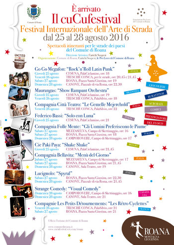 CUCU FESTIVAL 2016 Altopiano di Asiago, touring shows in Roana and fractions