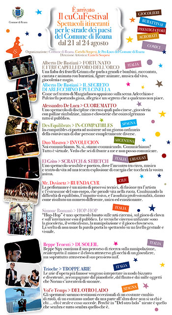 CUCU itinerant Shows in the FESTIVAL del Comune di Roana, 21-24 August