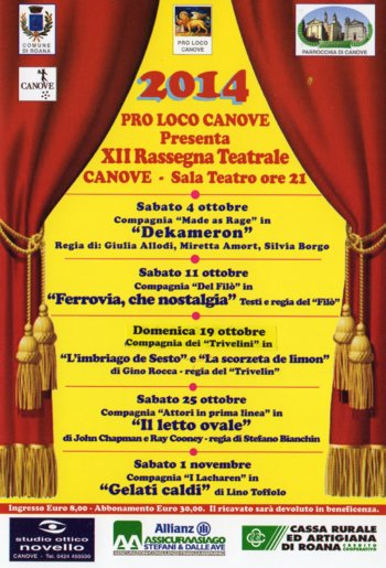 XIIº Rassegna Teatrale Comune di Roana a Canove ottobre 2014
