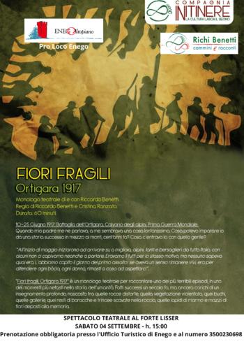 Monologo teatrale Fiori Fragili al Forte Lisser il 4 settembre 2021