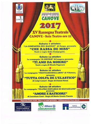 XVª Rassegna Teatrale a Canove, ottobre 2017 - Altopiano di Asiago