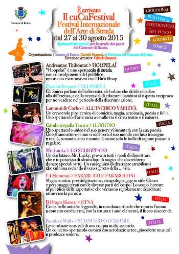 CUCU 2015 FESTIVAL Altopiano di Asiago, Tourneen in Roana