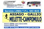 SKI BUS Zeiten für MELETTE CAMPOMULO von ASIAGO und GALLIO - Winter 2019-2020
