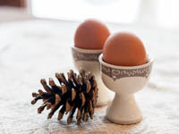 colazione ca sorda uova e pigna decorativa